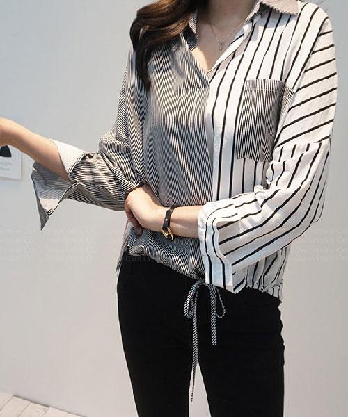 ★正韓 Ark ST ★ 休閒個性 束繩綁帶衣擺 排釦翻領襯衫(兩色)