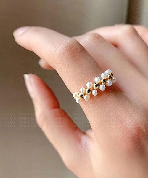 ★ 韓國 Artist PASA ★ 時尚優雅 珍珠金屬圓珠 可調整美戒