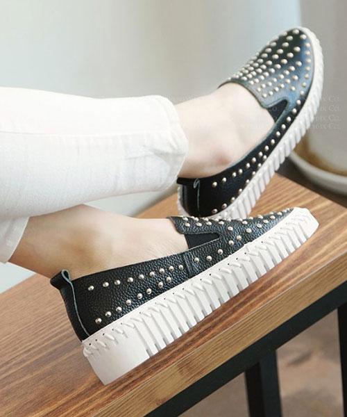 ★韓系 Ruth Leather ★ 個性真牛皮 鉚釘造型厚底休閒懶人鞋 (兩色)