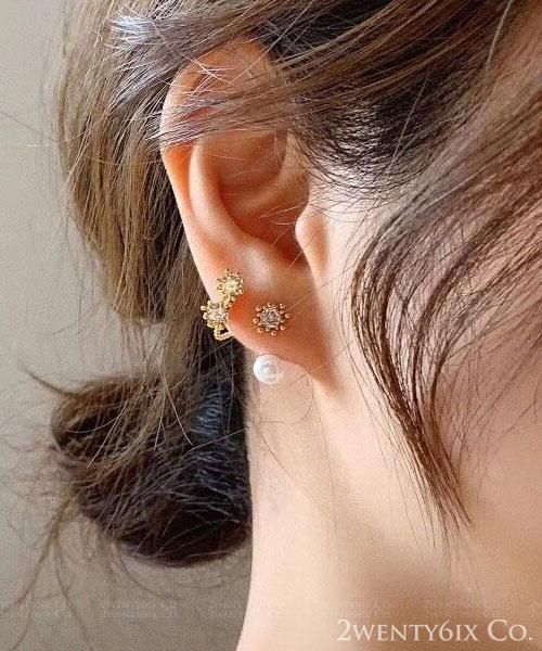 ★正韓 Freda Pearl ★ 時尚閃耀 晶透珍珠拼單爪水鑽耳針耳環