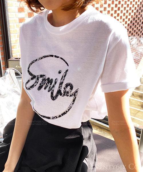 ★ 正韓 BeSmile ★ 時尚休閒 燙鑽黑蕾絲字體 純棉 短袖上衣