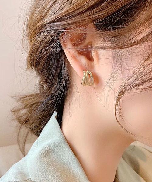 ★ 正韓 JT RYME ★時尚閃耀水鑽 多層次繞圈 耳針耳環