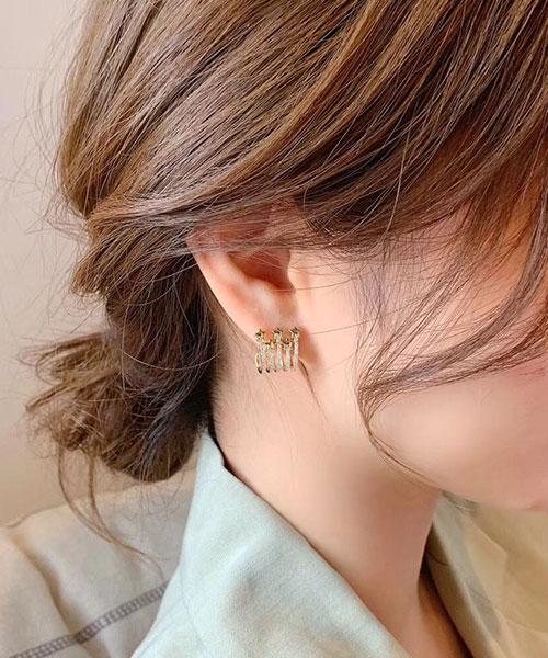 ★ 正韓 STARS LOOP ★ 時尚閃耀水鑽 星星環圈 耳針耳環