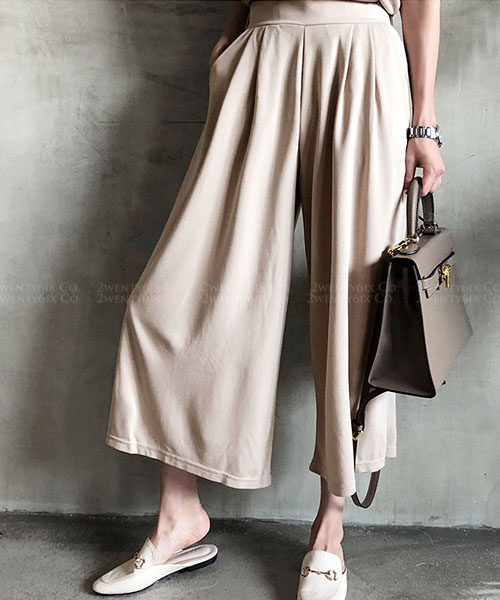 ★ 正韓  PUPPY ★ 時尚寬鬆舒適 鬆緊腰 口袋 寬口長褲 (兩色)