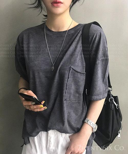 ★ 正韓 SWAG ★ 率性休閒 水洗口袋 純棉短袖T恤 (兩色)
