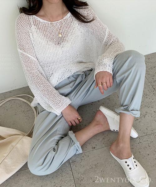 ★ 正韓 MIEL ★ 時尚休閒 質感網洞針織造型上衣