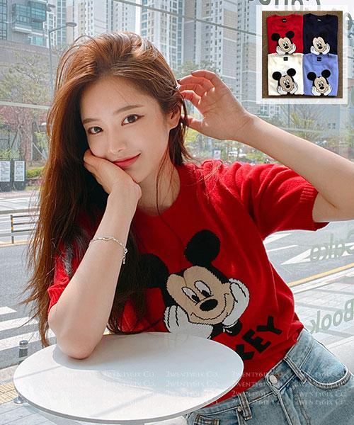 ★ 正韓 Disney 正品 ★ 超萌可愛 撞色米奇針織短袖上衣 (四色)