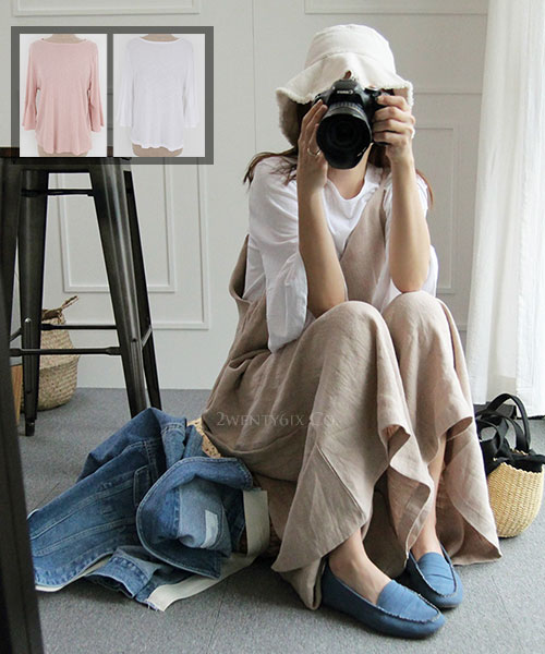 ★ 正韓 LILY Linen ★休閒百搭 超熱門顯瘦 荷葉袖圓領上衣 (兩色)