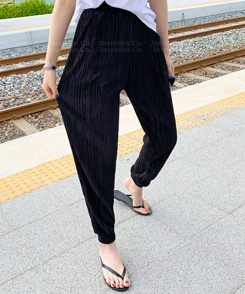 ★ 韓國代購 Odelia ★ 時尚 超涼爽+顯瘦 百摺休閒縮口長褲 (兩色)