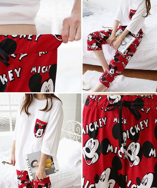 ★ 韓國代購 正品Disney ★ Olmiki米奇上衣+鬆緊長褲 (兩色/兩件套)