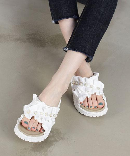 ★韓系 FANNY PEARLS ★時尚浪漫 捲花十字珍珠3cm厚底涼拖鞋(兩色)