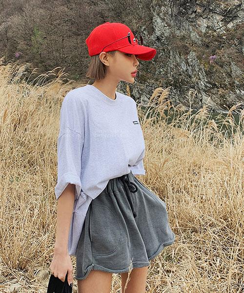 ★ 正韓 Street PT ★ 休閒舒適 鬆緊綁帶 不修邊花捲褲管 顯瘦短褲