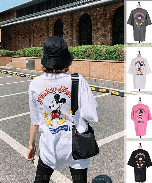 ★ 正韓正品 Disney 米奇★ MIKI 造型印刷 圓領長版純棉上衣 (四色)