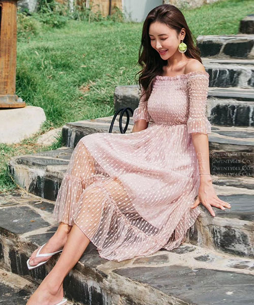 ★ 正韓 BUBBLE KT ★可愛浪漫點點 鬆緊領蕾絲網紗層次連衣裙