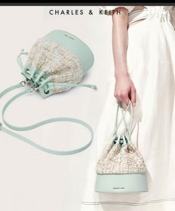 ★新加坡正品CHARLES & KEITH★  質感皮革 抽繩水桶斜背包 (兩色)