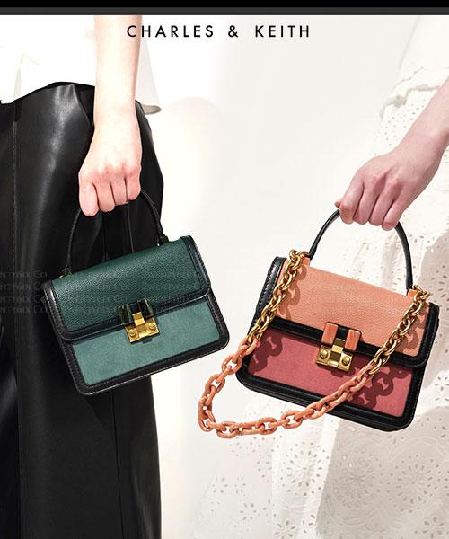 ★新加坡正品CHARLES & KEITH★ 時尚皮革 鍊條風琴手提包 (三色)