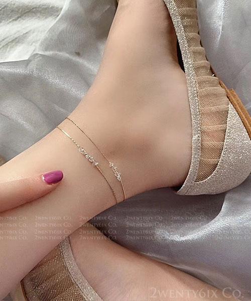★ 正韓 Natellie Crystal ★ 時尚透光 雙鍊水晶珠串腳鍊