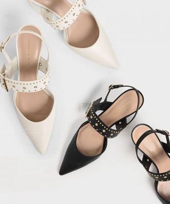 ★新加坡正品CHARLES & KEITH★ 時尚皮革 鉚釘尖頭扣帶跟鞋 (兩色)