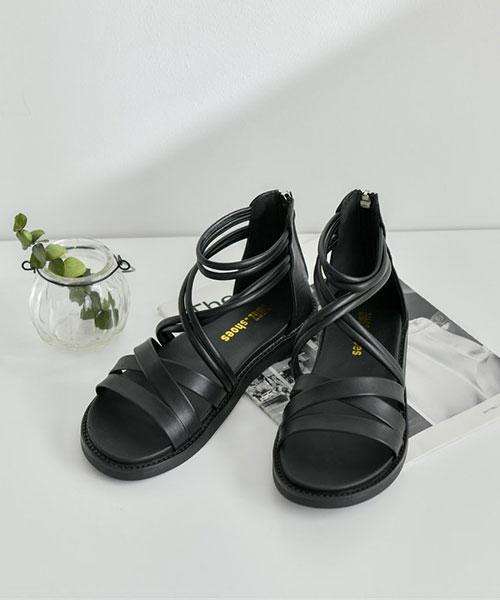 ★ 韓系 Bagnell ★ 個性質感羅馬層次交錯皮革 後包拉鍊涼鞋
