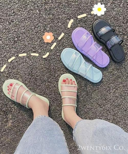 ★ 韓系 Popsicle ★ 夏日冰涼雙帶透膚 繽紛冰棒色系涼拖鞋 (四色)