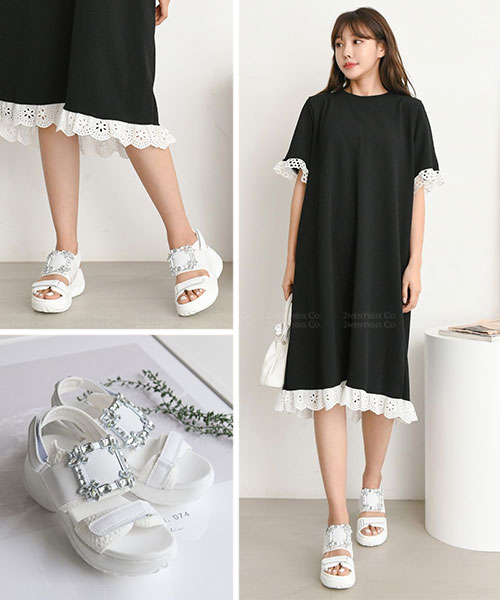 ★ 韓系 TELDA ★ 時尚閃耀方形花鑽 魔術帶雙帶 7cm厚底涼鞋 (兩色)