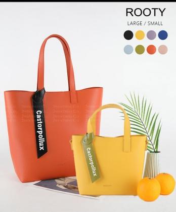 ★正韓 ROOTY MAY★時尚皮革 造型吊牌 手提肩揹購物包 (S&L/8色)