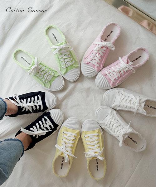 ★ 韓系 Cotton Canvas ★ 夏日繽紛棉花糖色系 帆布半拖鞋 (五色)