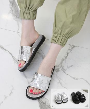 ★ 韓系 BURNEY GLT ★ 個性閃粉星星 質感皮革 厚底涼拖鞋  (兩色)
