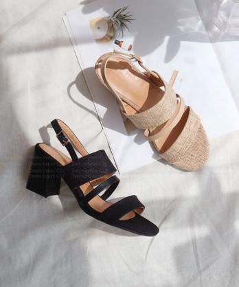 ★ 韓系DUNCAN LN ★ 時尚質感棉麻織布 層次三帶 後釦帶粗跟涼鞋 (兩色)