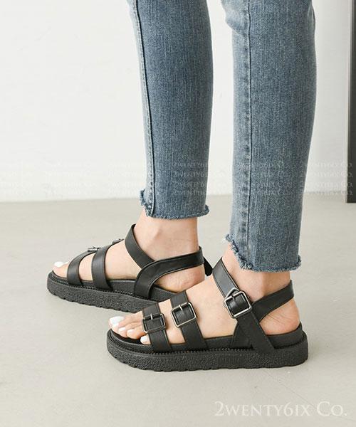 ★ 韓系 Harriet  BK ★ 個性粗曠皮革三帶 假套釦帶 厚底涼鞋