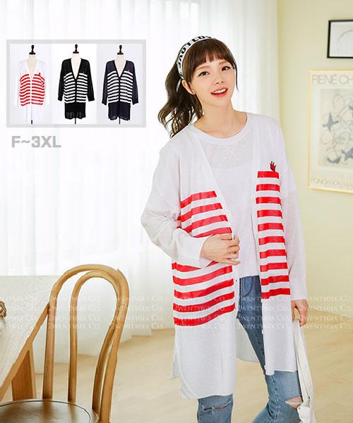 ★ 正韓代購 RED-CROWN ★ 可愛紅皇冠橫條紋長版罩衫(F~3XL)