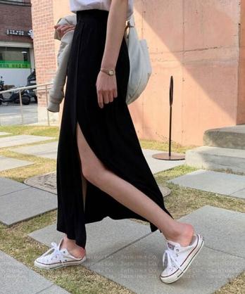 ★ 正韓 Phoenix LSK ★ 時尚休閒 修身顯瘦 開衩鬆緊長裙 (S~XL)