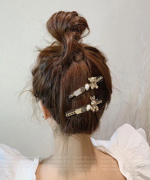 ★正韓 LVOELY OP ★ 時尚精緻可愛 精工珍珠金屬 小熊兔兔髮夾(兩款)