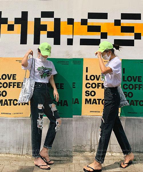 ★ 正韓 KONKON ★ 時尚個性 復古造型刷破 純棉寬鬆長褲 (S~L)