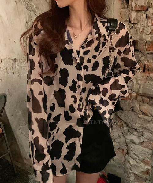 ★ 正韓 LEO CHIFFON ★ 時尚唯美 寬鬆顯瘦 微透豹紋長袖雪紡襯衫