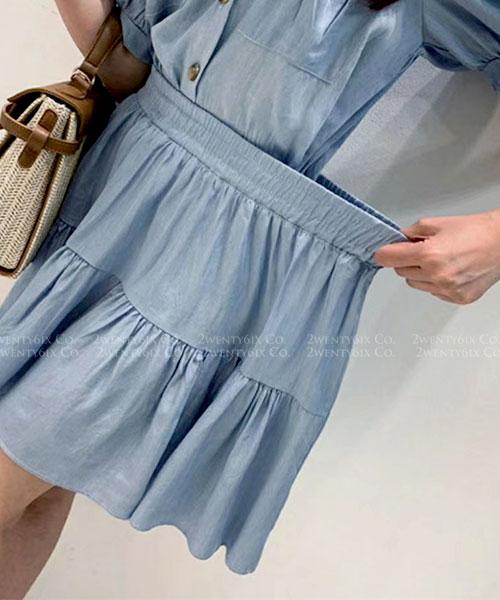 ★ 正韓 SKYBLUE ★ 率性休閒 俏麗牛仔藍 翻領襯衫+鬆緊短裙(兩件套)