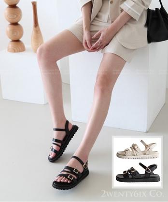 ★ 韓系 EMPIRE BK (編編推薦款)★ 個性羅馬螺旋繩 假釦帶涼鞋 (兩色)