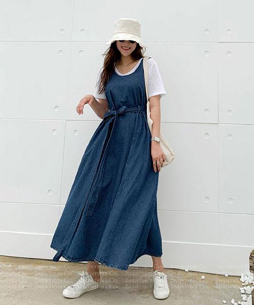 ★ 正韓 Cheryl JK ★ 休閒率性 一片式腰間綁帶 純棉牛仔連身裙