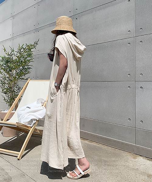 ★ 正韓 ELURA LINEN ★ 夏日休閒 簡單感 口袋/連帽 亞麻連身裙
