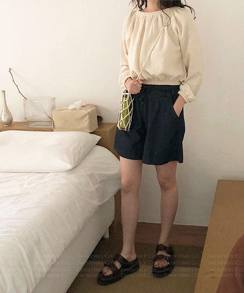 ★ 正韓 Quintin ★ 休閒舒適粗斜紋布 鬆緊綁帶 口袋5分牛仔短褲