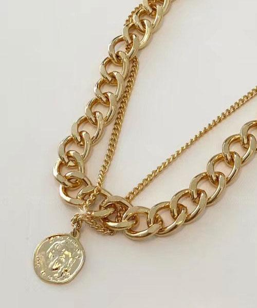 ★正韓 Porter Chains ★ 粗曠個性 幾何硬幣 金屬粗細分層串鍊