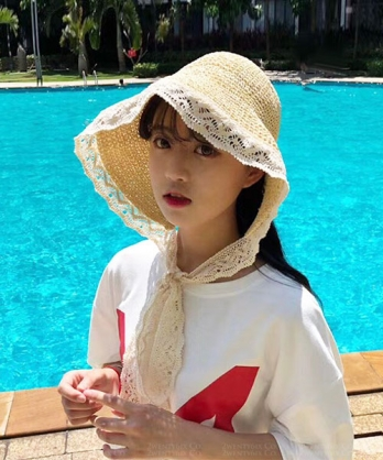 ★ 正韓 BabyDoll ★ 浪漫甜美風格 洋娃娃蕾絲綁帶 編織遮陽帽 (兩色)
