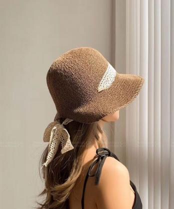 ★ 正韓 PRINCESS GC ★ 夏日公主風 浪漫編織 穿繞蕾絲綁帶 遮陽帽 (四色)