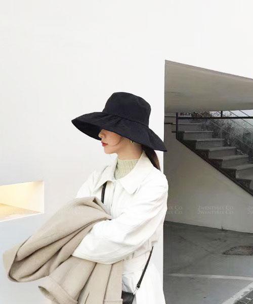 ★ 正韓 RYLEE WD ★ 夏日休閒 質感棉紡加寬帽沿 可折造型遮陽帽 (三色)