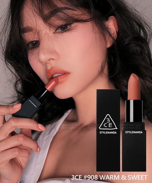 ★ 韓國 3CE [MATTE] ★ #908 復古棕珊瑚奶油光澤霧面唇膏
