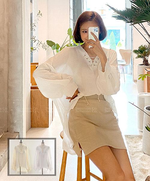 ★ 正韓 WOOPOO ★ 質感休閒造型綁帶 顯瘦棉麻寬袖上衣 (兩色)