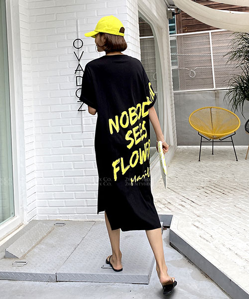 ★ 正韓 NSF ★ 率性休閒 造型後背大印刷 口袋 長版連衣裙 (兩色)