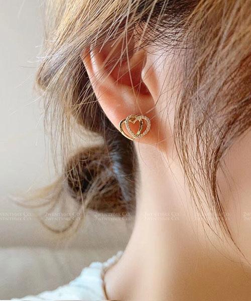 ★ 正韓  DUO Hearts ★ 時尚閃耀 可愛精緻雙圈心心 水鑽耳針耳環