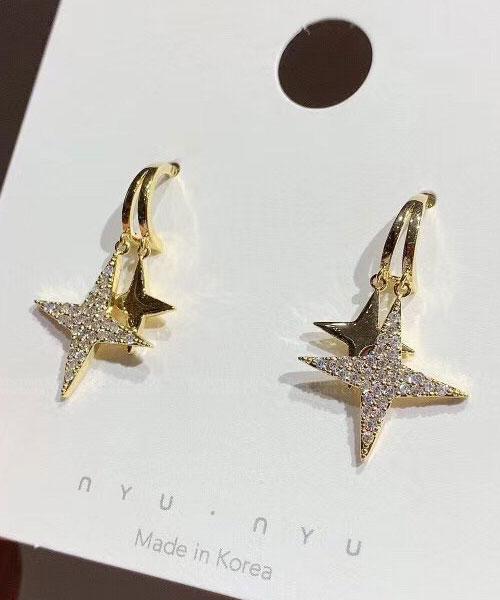 ★ 正韓 Aaron RK ★ 時尚閃耀 雙層水鑽菱形星 耀動 耳針耳環