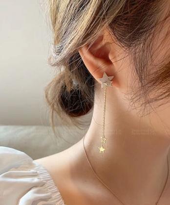 ★ 正韓 Dora Star ★ 時尚閃耀 雲母水鑽雙星 吊墜鍊條星星 耳針耳環